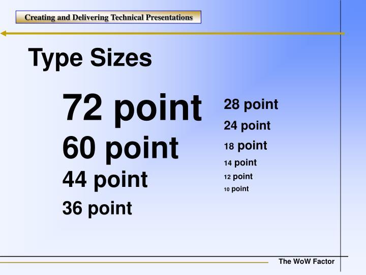 Type Sizes