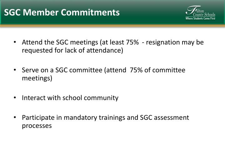 SGC Member Commitments