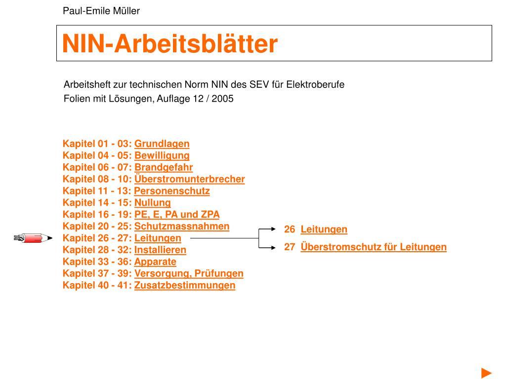 PPT - NIN-Arbeitsblätter PowerPoint Presentation - ID:6726175