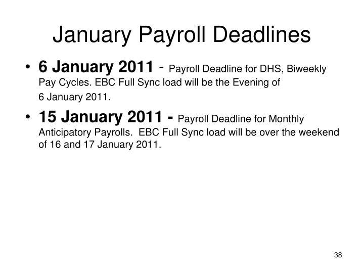 January Payroll Deadlines