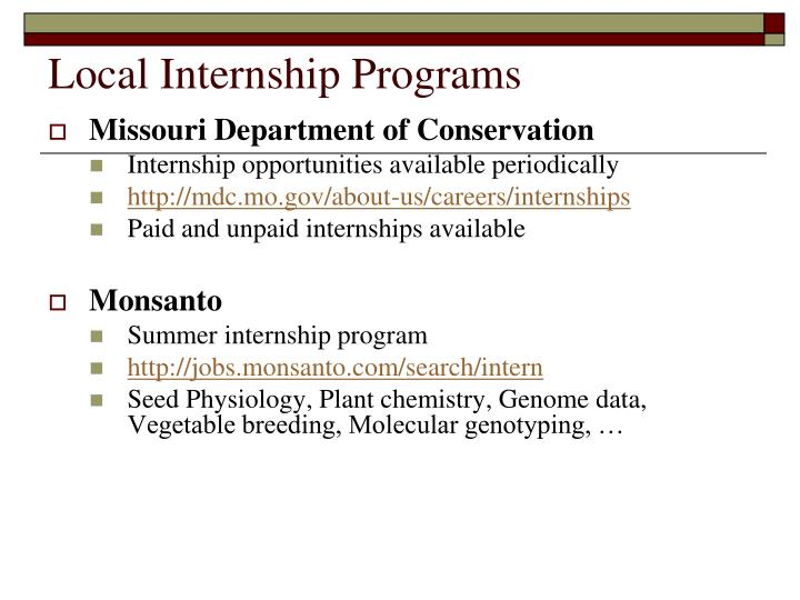 Local Internship Programs