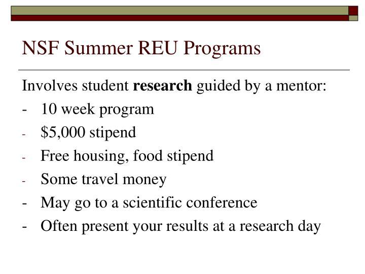 Nsf summer reu programs