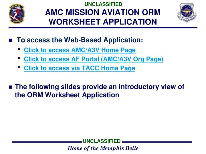 Amc mission aviation orm worksheet application
