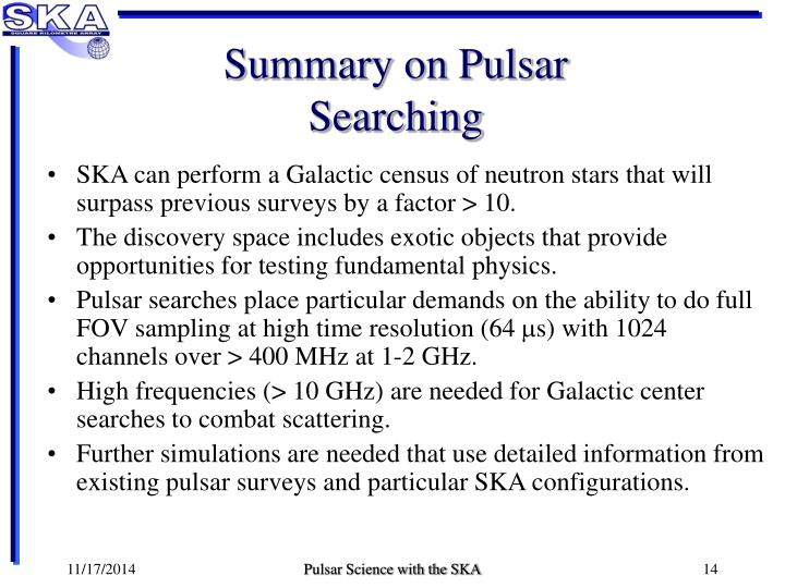 Summary on Pulsar Searching