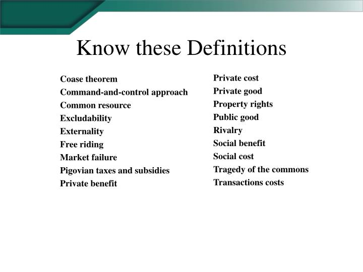 Know these Definitions