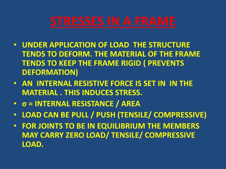 STRESSES IN A FRAME