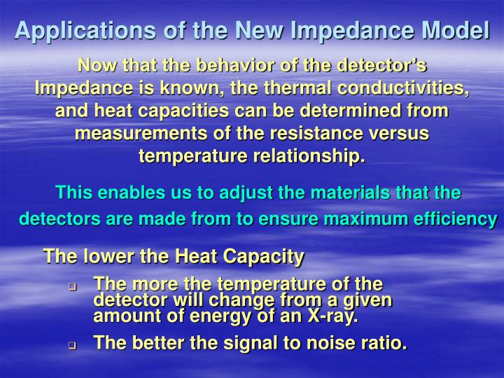 Applications of the New Impedance Model