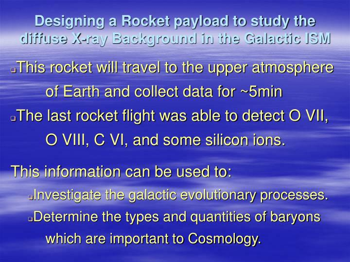Designing a rocket payload to study the diffuse x ray background in the galactic ism