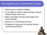 sharing security experience extract
