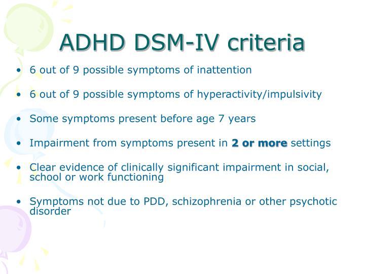 ADHD DSM-IV criteria
