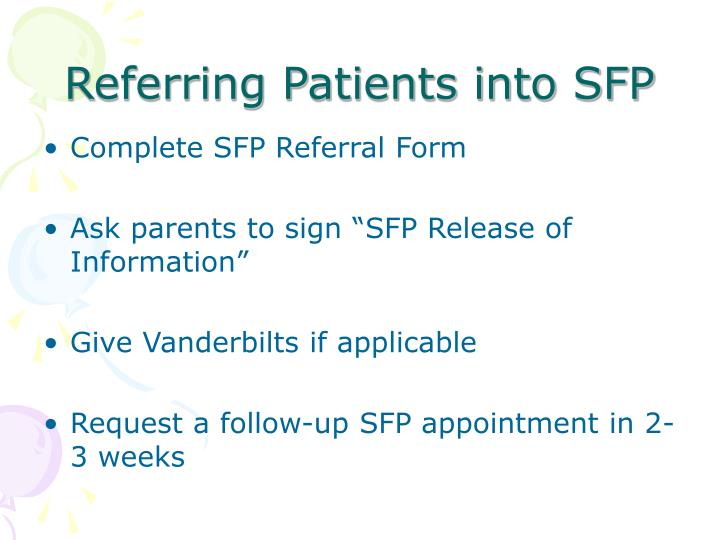 Referring Patients into SFP