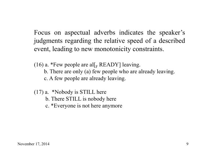 Focus on aspectual adverbs indicates the speaker's judgments regarding the relative speed of a described event, leading to new monotonicity constraints.