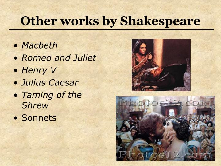 Other works by Shakespeare