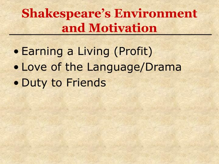 Shakespeare's Environment and Motivation