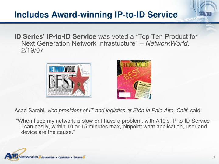 Includes Award-winning IP-to-ID Service