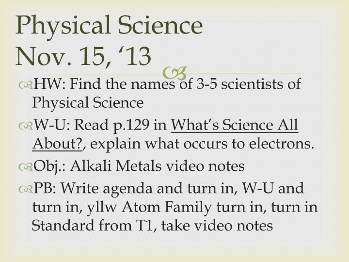 Physical science nov 15 13