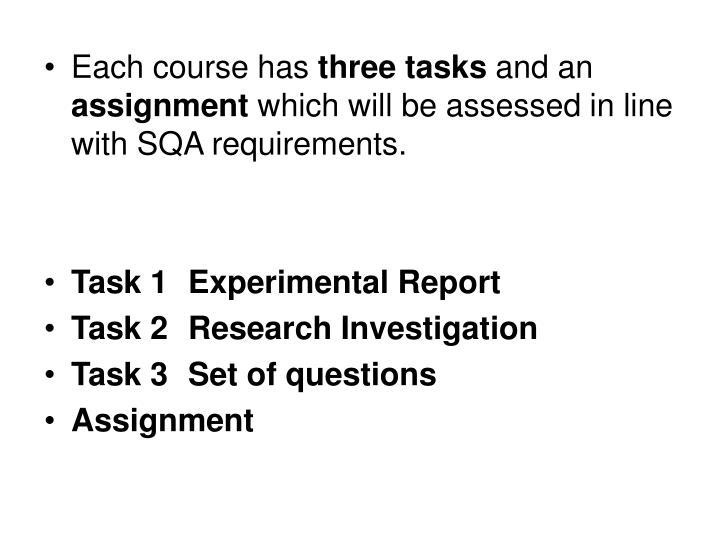 Each course has