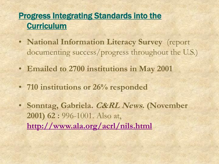 Progress Integrating Standards into the Curriculum