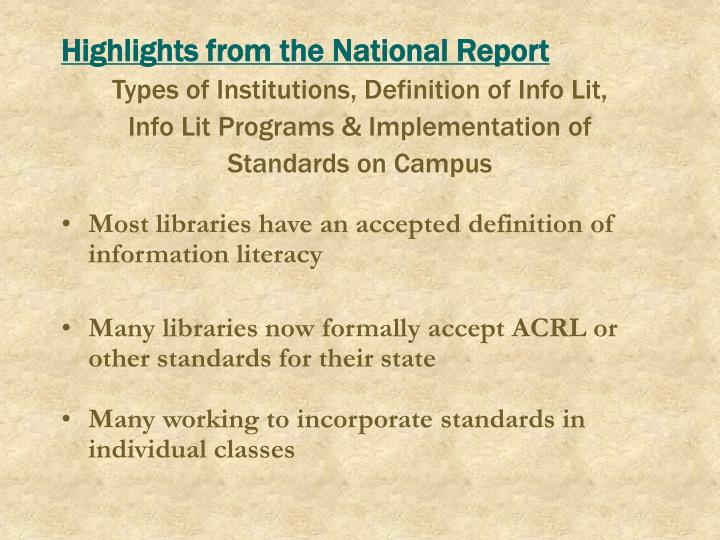 Highlights from the National Report