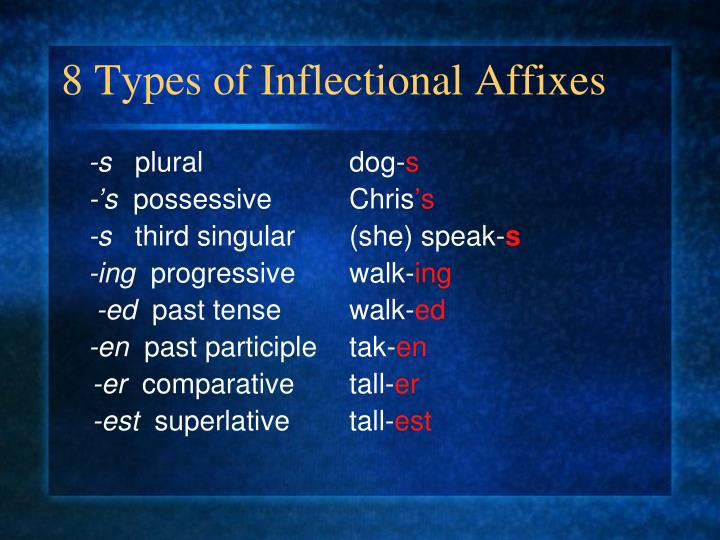 8 Types of Inflectional Affixes