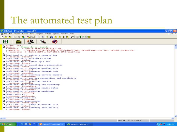 The automated test plan