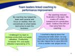 team leaders linked coaching to performance improvement