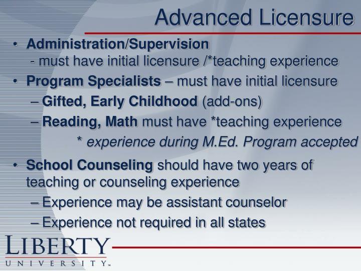 Advanced Licensure