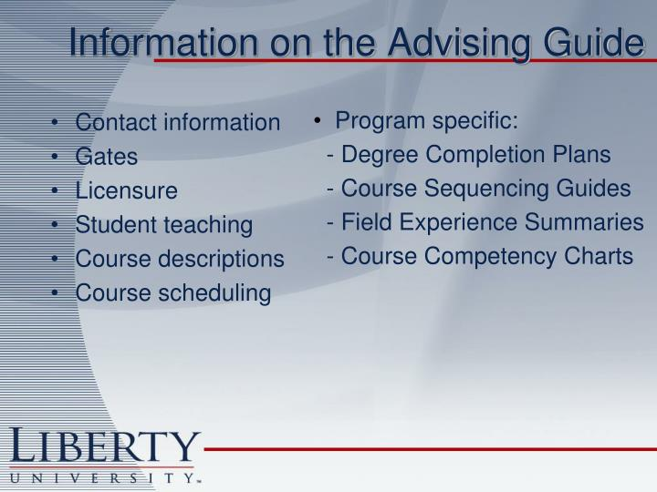 Information on the Advising Guide