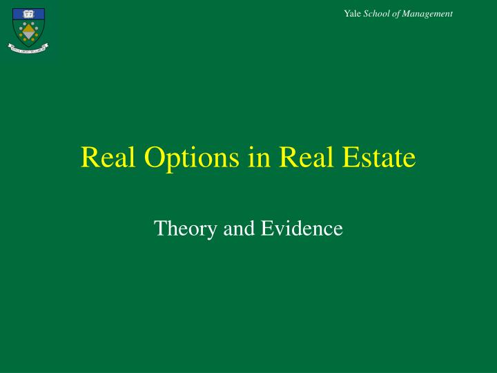 real options in real estate n.