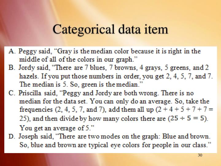 Categorical data item