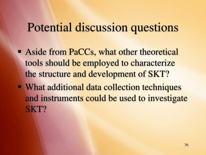 Potential discussion questions