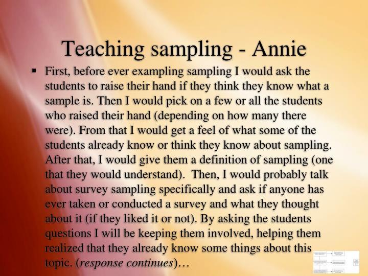 Teaching sampling - Annie