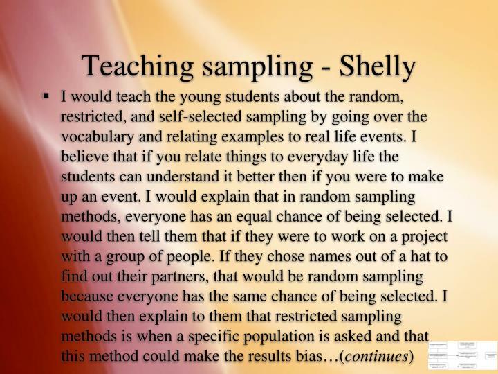 Teaching sampling - Shelly