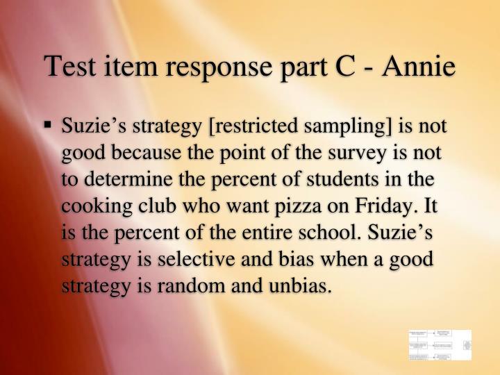 Test item response part C - Annie