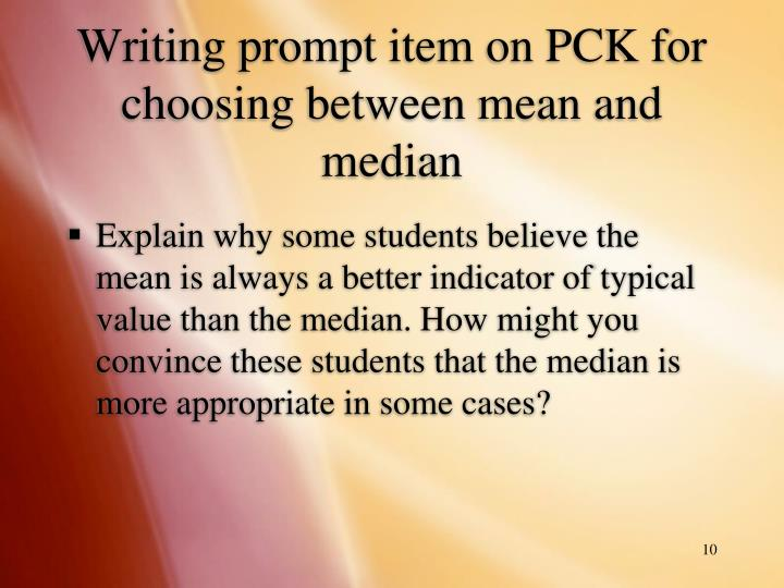 Writing prompt item on PCK for choosing between mean and median