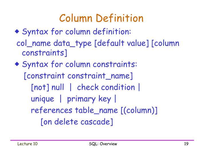 Column Definition