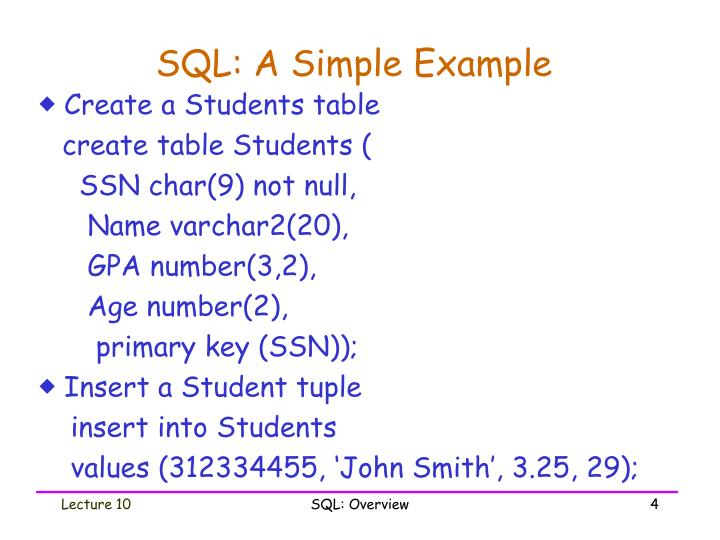 SQL: A Simple Example