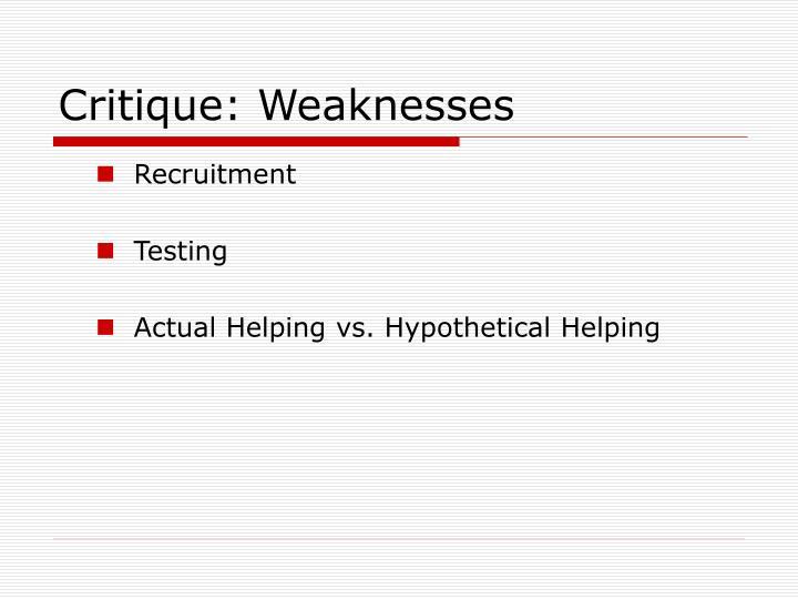 Critique: Weaknesses