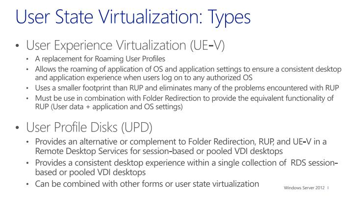 User State Virtualization: Types