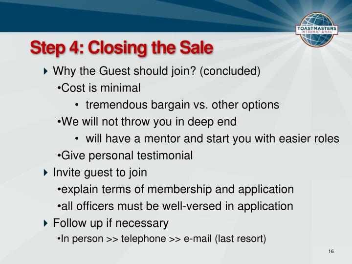 Step 4: Closing the Sale