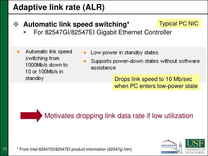 Adaptive link rate (ALR)
