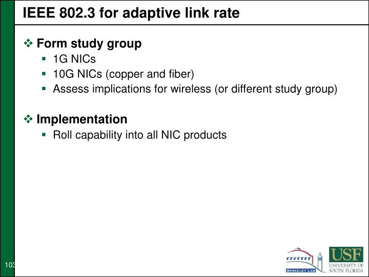 IEEE 802.3 for adaptive link rate
