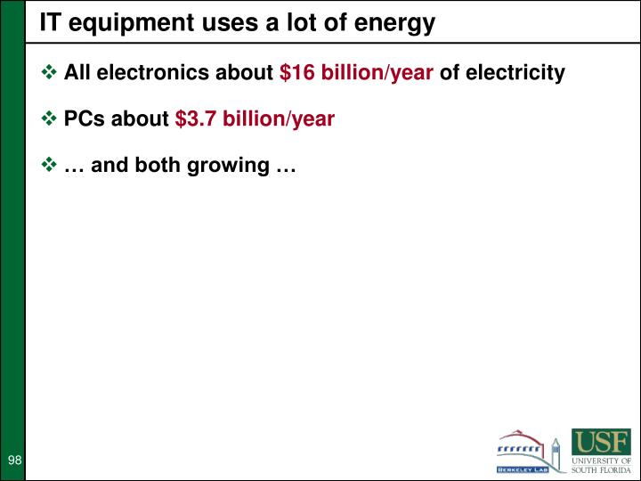 IT equipment uses a lot of energy