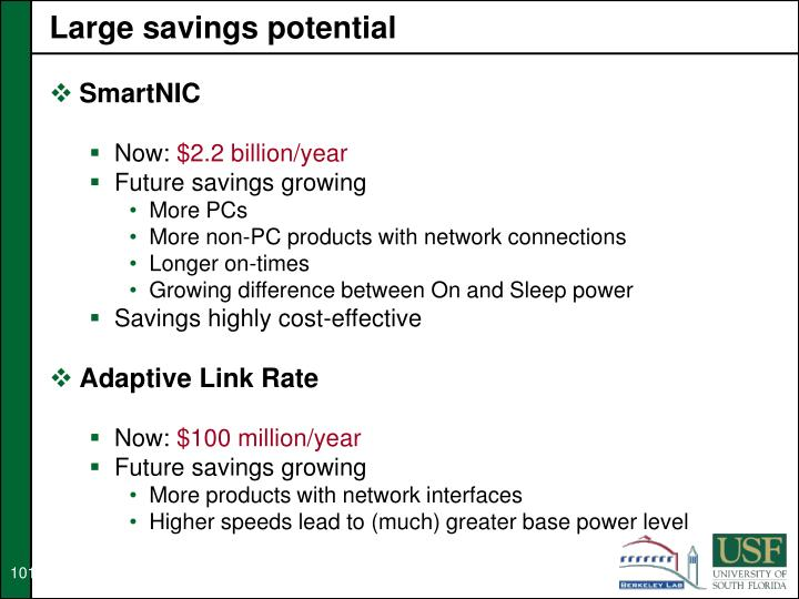 Large savings potential