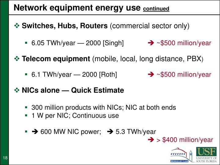 Network equipment energy use