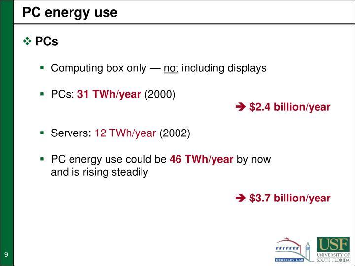 PC energy use