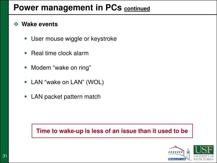 Power management in PCs