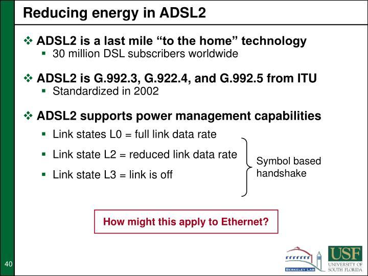 Reducing energy in ADSL2