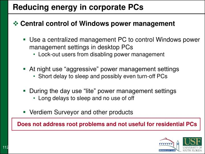 Reducing energy in corporate PCs