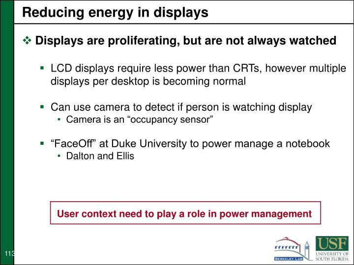 Reducing energy in displays